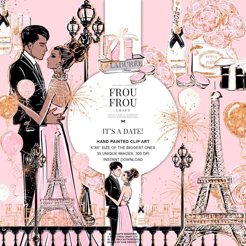 Valentine fashion scene engagement. Anniversary clipart vintage
