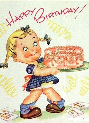 Retro birthday kid cards. Anniversary clipart vintage