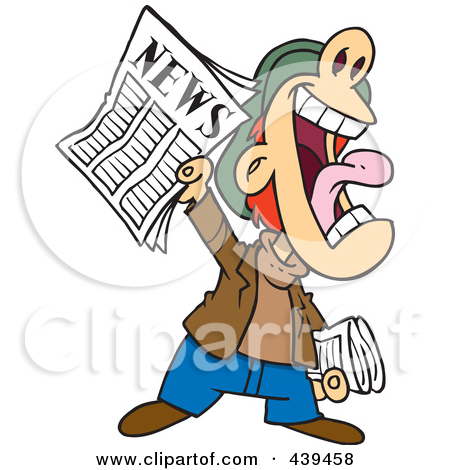 Cartoon news boy yelling. Announcement clipart animated