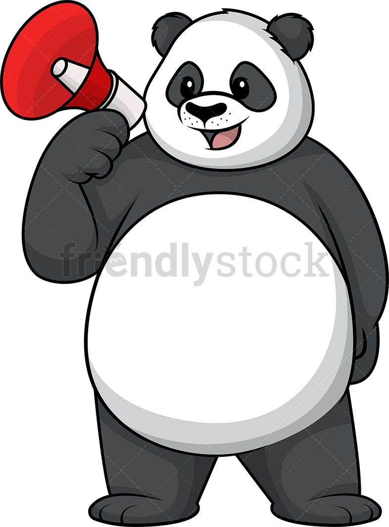 Announcement clipart animated. Panda holding megaphone of