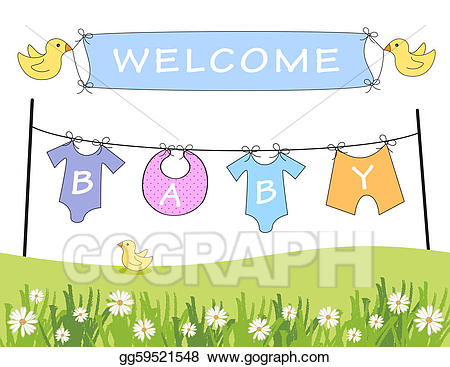 Announcement clipart announcement banner. Stock illustration welcome baby