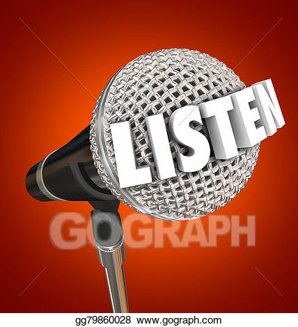 Listen word microphone stage. Announcement clipart attention