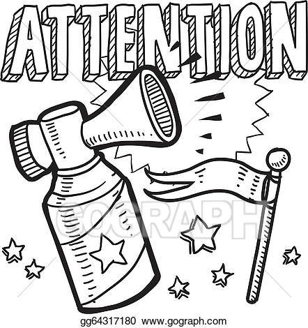Announcement clipart attention. Vector sketch illustration