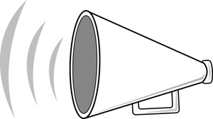 Announce image cartoon megaphone. Announcement clipart black and white