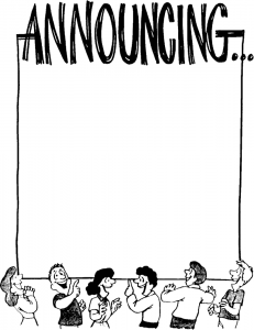 Announcement clipart black and white. Image of announce clip