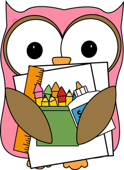 Owl supply monitor clip. Announcement clipart classroom