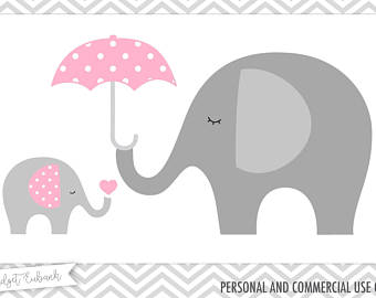 Baby clipart umbrella. Elephant shower and mommy