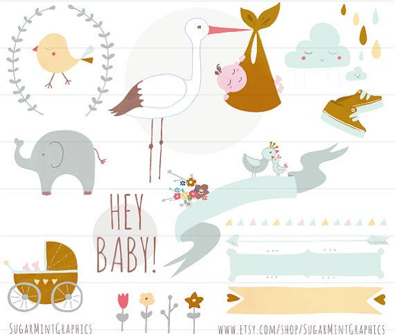 Baby shower clip art. Announcement clipart elephant