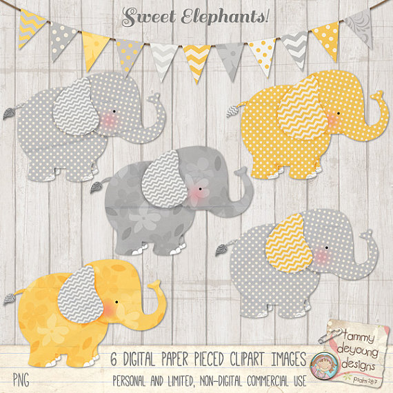 Announcement clipart elephant. Baby clip art yellow