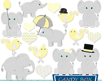 Announcement clipart elephant. Baby boy and girl