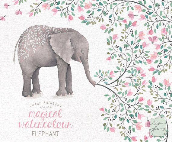 Watercolor hand painted nursery. Announcement clipart elephant