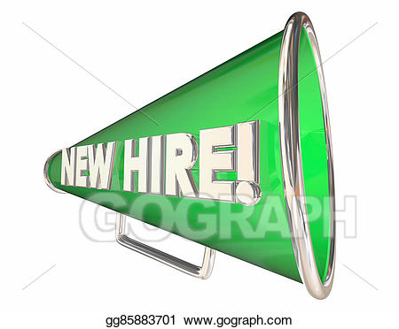 New hire bullhorn megaphone. Announcement clipart employee