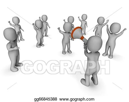Announcement clipart group. Drawing megaphone leader showing