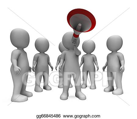 Stock illustration loud hailer. Announcement clipart group