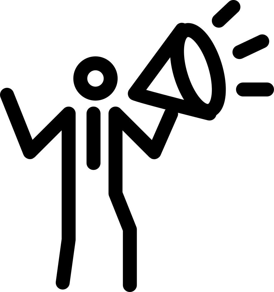 Announcement clipart icon. Person with speaker making