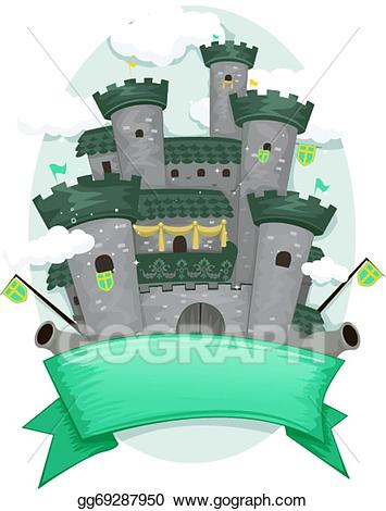 Vector art castle banner. Announcement clipart medieval