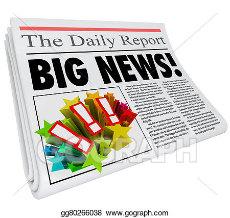 Announcement clipart newspaper. Stock illustration big news