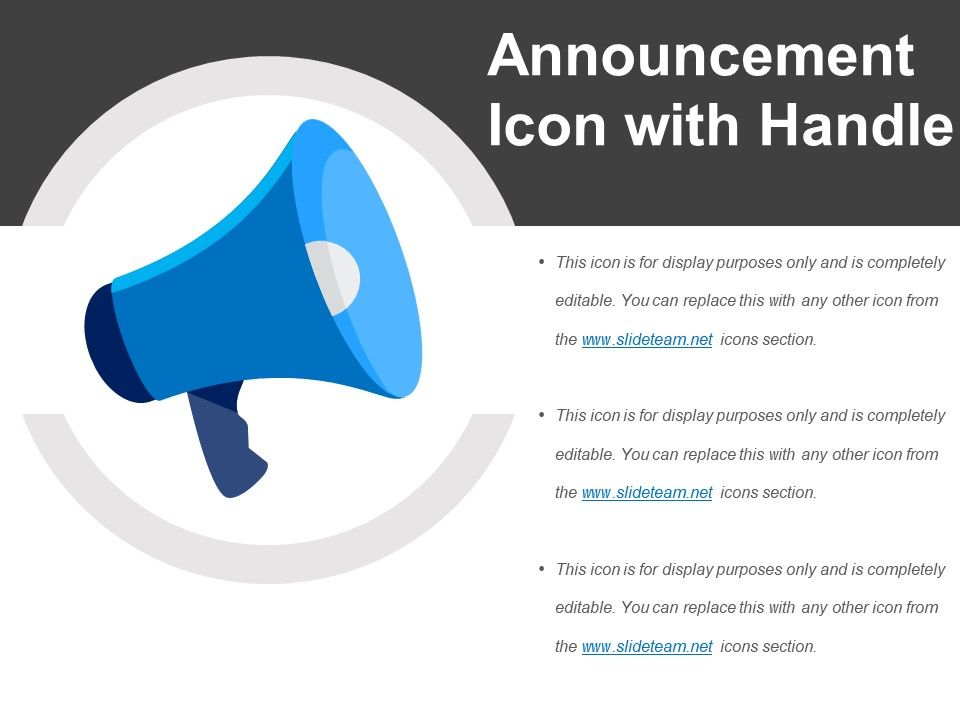 Icon with handle powerpoint. Announcement clipart project