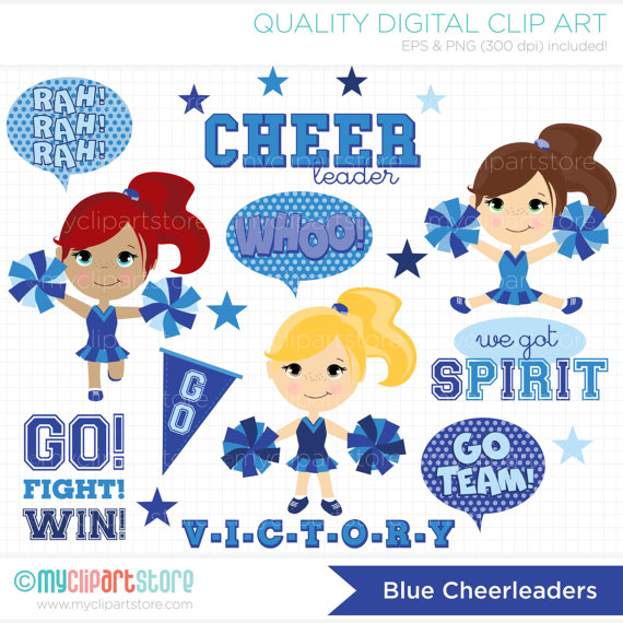 Little cheerleaders blue cheer. Announcement clipart school spirit