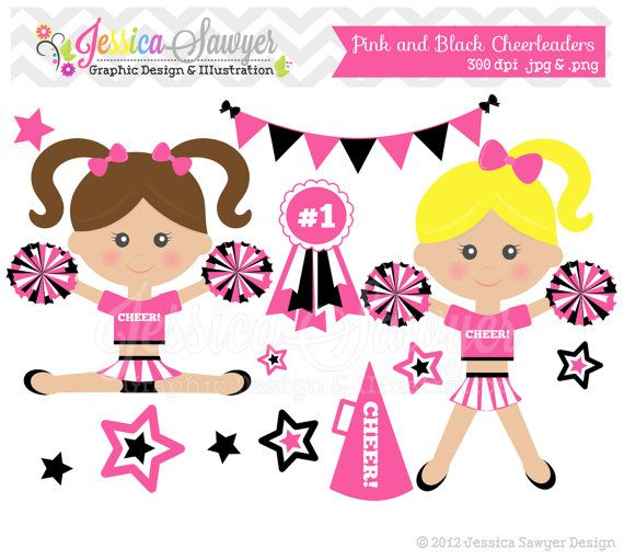 Cheer clipart baby. Instant download pink cheerleader