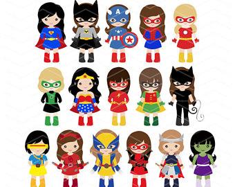 Clip art etsy girls. Announcement clipart superhero