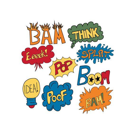comic book words. Announcement clipart superhero