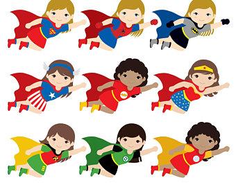 Superheroes clipart. Flying super hero etsy