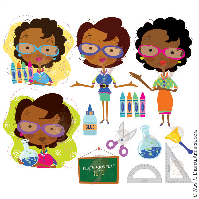 Announcement clipart teacher. African american woman classroom