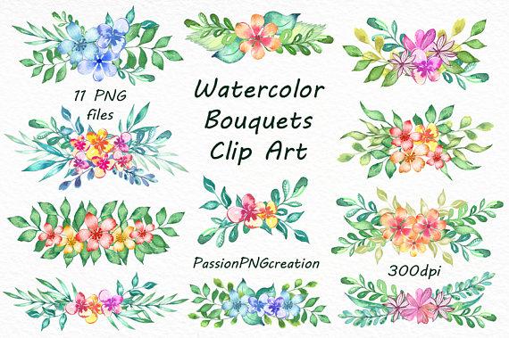 Announcement clipart transparent background. Watercolor bouquets png