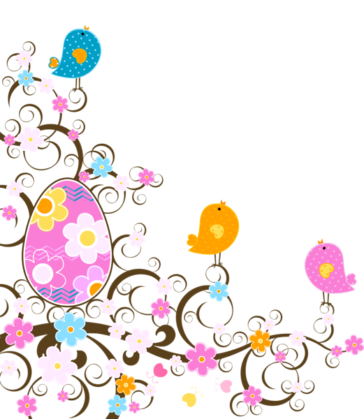 Clipart cross patterned. Easter decoration with flowers