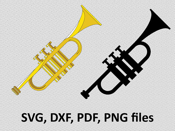Svg dxf files . Announcement clipart trumpet