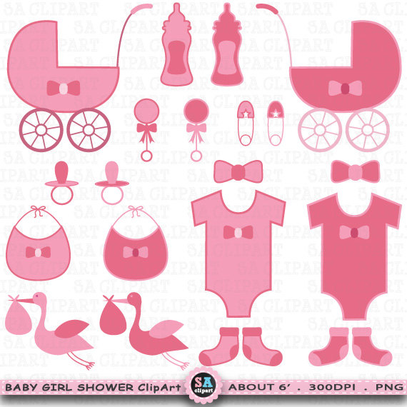 Announcement clipart vintage. Baby shower girl girlclip