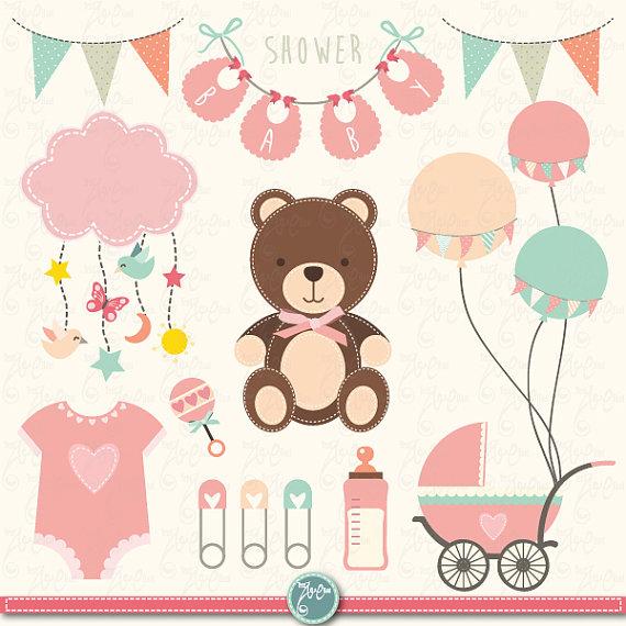 Baby shower clip art. Announcement clipart vintage