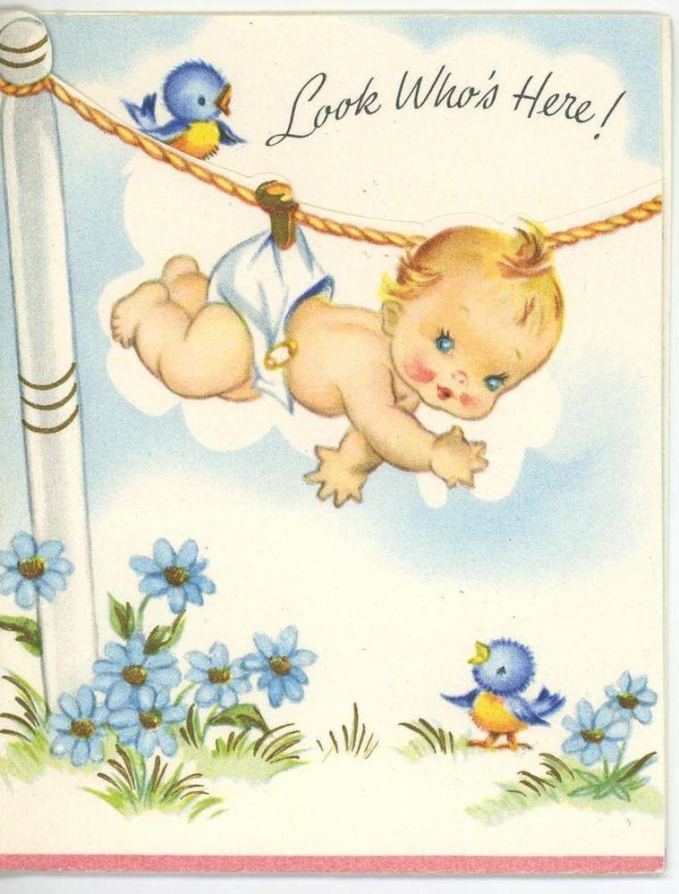 Baby diaper bluebird flowers. Announcement clipart vintage