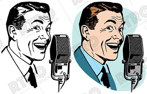 A smiling man makes. Microphone clipart announcement