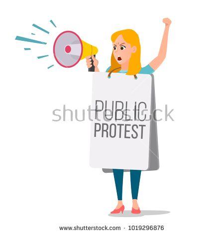 Woman shouting through megaphone. Announcements clipart activist