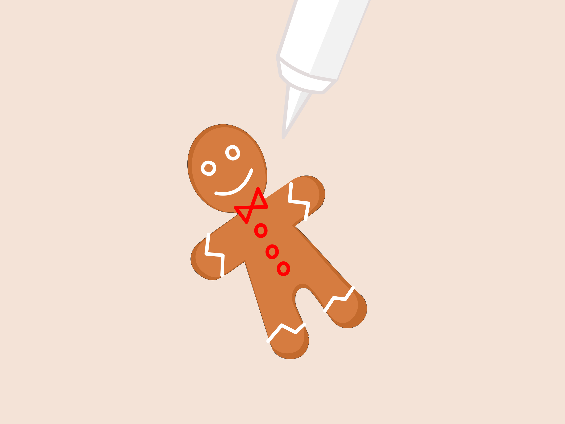 Animation icing the gingerbread. Announcements clipart animated