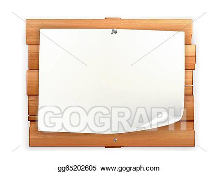 Vector art on wooden. Announcements clipart announcement board