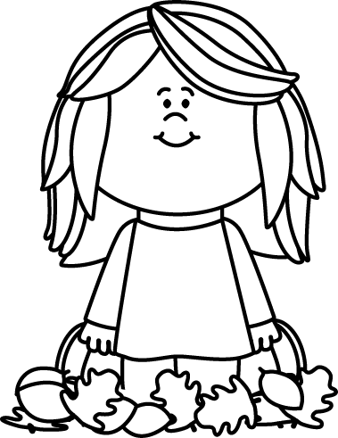 Announcements clipart black and white. Girl sitting in leaves