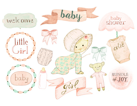 Baby girl shower birth. Announcements clipart business announcement