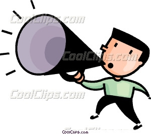 Man making announcements vector. Announcement clipart business announcement