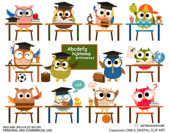 Owl clip art for. Announcements clipart classroom