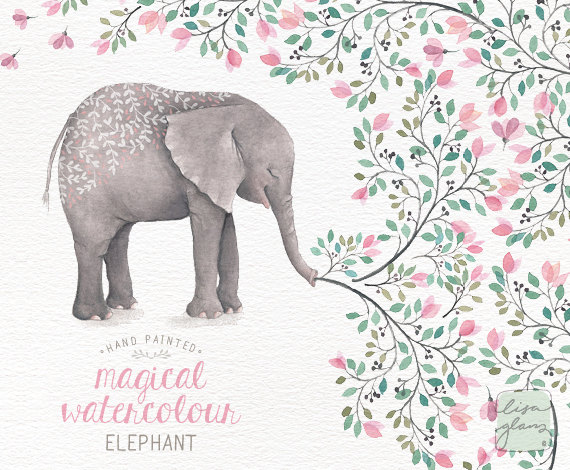 Watercolor hand painted printable. Announcements clipart elephant
