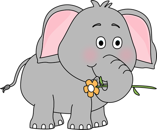 Announcements clipart elephant. With a flower clip