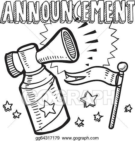 Eps vector announcement sketch. Announcements clipart horn