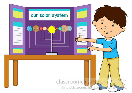 Clipart gallery school exhibition. Science student shows his
