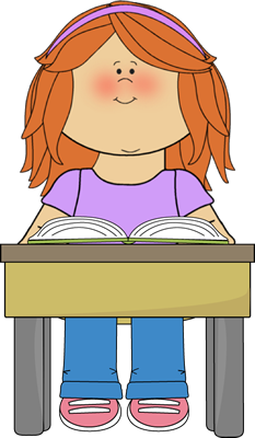 Working clipart one student. Reading school book clip