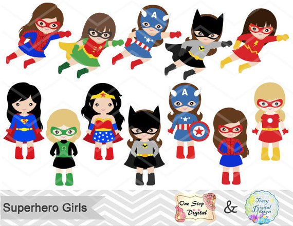 girls digital clip. Announcements clipart superhero