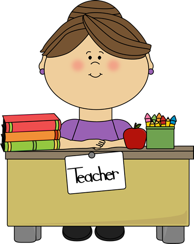 Announcements clipart teacher. Sitting at a desk