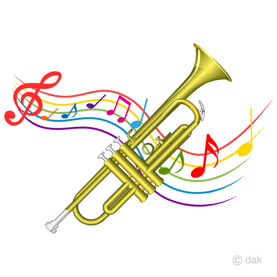 And music tone waving. Announcements clipart trumpet